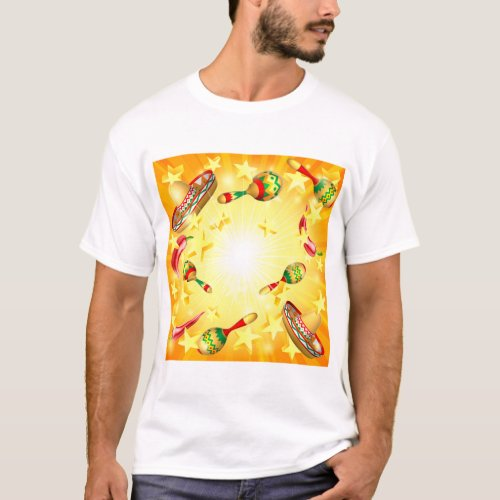Cinco De Mayo Mexican Holiday Themed Background T_Shirt