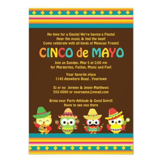 Cinco de Mayo Mexican Owls Card