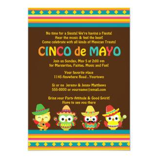 Cinco de Mayo Mexican Owls Personalized Invite