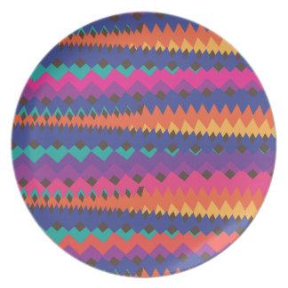 Cinco de Mayo Mexican ZigZag Colorful Stripes Melamine Plate