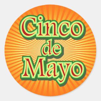 Cinco de Mayo México diseño del 5 de mayo Pegatinas Redondas