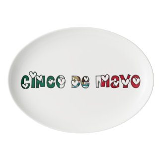 Cinco de Mayo Mexico Mexican Flag Color Typography Porcelain Serving Platter