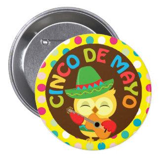 Cinco de Mayo Owl with Guitar 3 Inch Round Button