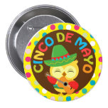 Cinco de Mayo Owl with Guitar Pinback Buttons