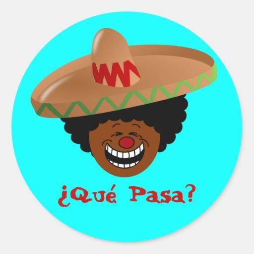 Cinco de Mayo - Que Pasa: Español para la fiesta Pegatina Redonda