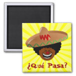 Cinco de Mayo - Que Pasa: Spanish for Funky Fiesta 2 Inch Square Magnet
