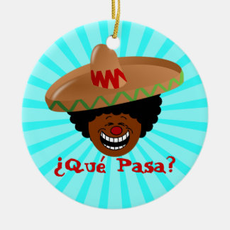 Cinco de Mayo - Que Pasa: Spanish for Funky Fiesta Double-Sided Ceramic Round Christmas Ornament
