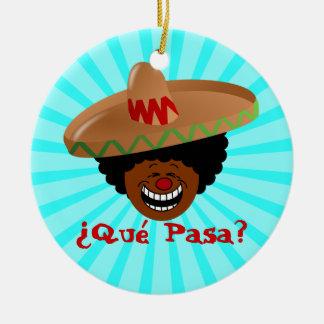 Cinco de Mayo - Que Pasa: Spanish for Funky Fiesta Christmas Ornament