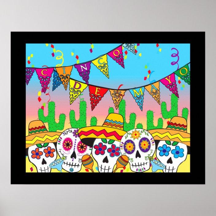 Cinco De Mayo Sugar Skull Print Zazzle.com