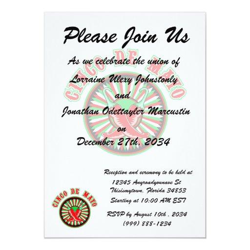 Cinco de mayo w pepper seal 5x7 paper invitation card