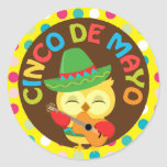 Cinco de Mayo with Cute Owl Round Stickers