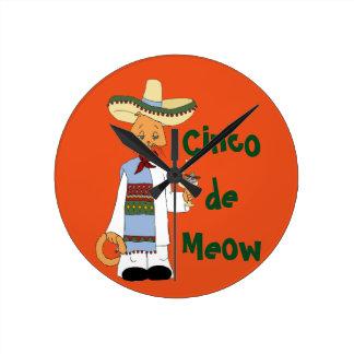 Cinco de Meow Round Clock