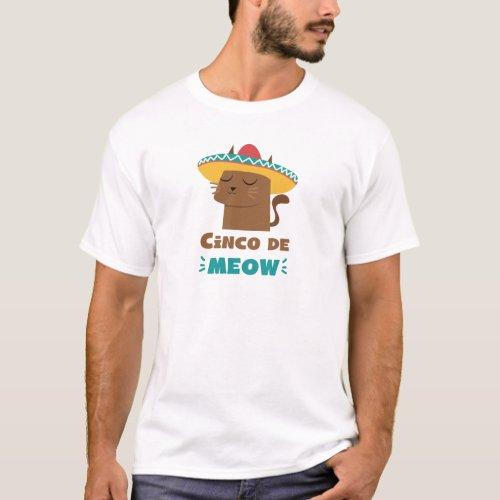 Cinco De Meow Sombrero Cat Funny Cinco De Mayo T_Shirt