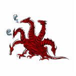 Cinco dirigieron el dragón rojo esculturas fotográficas