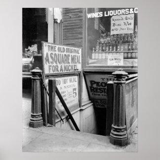 Cinco el centavo Restaurant, 1915. Foto del Póster