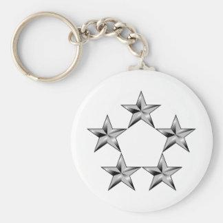 Cinco-estrella-general Llavero Redondo Tipo Pin