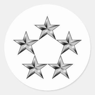 Cinco-estrella-general Pegatina Redonda
