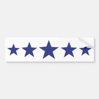 cinco estrellas azules etiqueta de parachoque