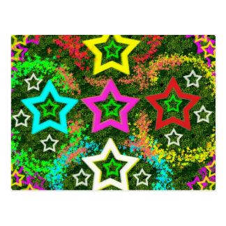 Cinco estrellas coloridas postal