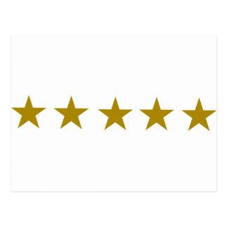 Cinco estrellas de oro tarjeta postal