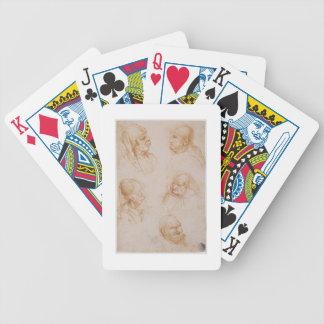 Cinco estudios de las caras grotescas (tiza roja e barajas de cartas