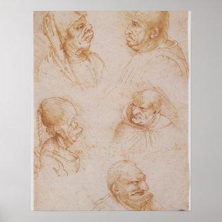 Cinco estudios de las caras grotescas (tiza roja e póster