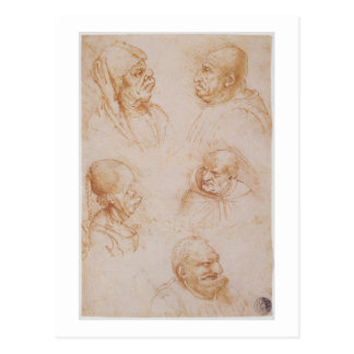 Cinco estudios de las caras grotescas (tiza roja postal