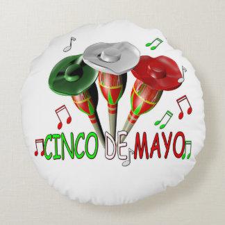Cinco feliz de Mayo Cojín Redondo