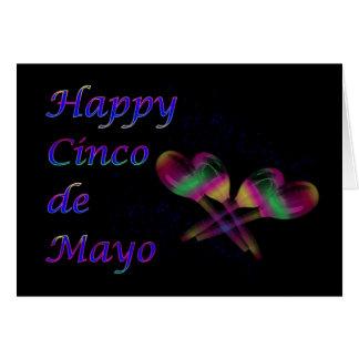 Cinco feliz de Mayo con maracas Tarjeta De Felicitación