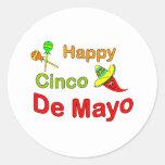 Cinco feliz De Mayo Pegatina Redonda