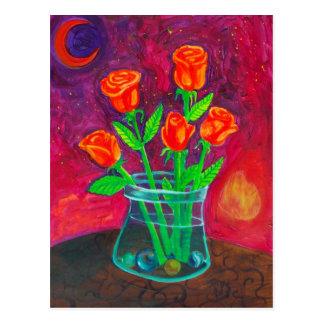 Cinco flores anaranjadas felices postales