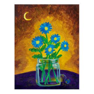 Cinco flores azules felices tarjetas postales