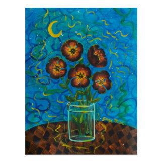cinco flores marrones felices postales