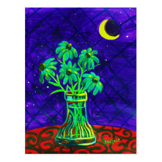 Cinco flores verdes felices postales