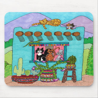 Cinco gatos en una casa de Adobe de la aguamarina Alfombrilla De Ratones