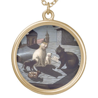 Cinco gatos que cantan en un collar del final del