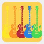 Cinco guitarras eléctricas coloridas calcomania cuadrada personalizada