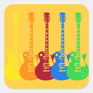 Cinco guitarras eléctricas coloridas pegatina cuadrada