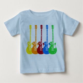 Cinco guitarras eléctricas coloridas playera de bebé