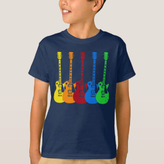 Cinco guitarras eléctricas coloridas remera