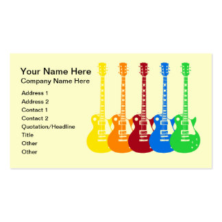 Cinco guitarras eléctricas coloridas plantilla de tarjeta de negocio