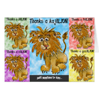 Cinco leones del dibujo animado le agradecen carda tarjetas