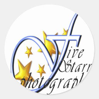 Cinco logotipo de la fotografía 10x10 de Starr Etiqueta Redonda