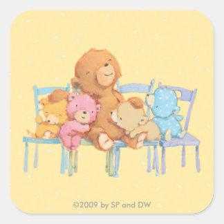 Cinco mimosos y coloridos refiere sillas pegatina cuadrada