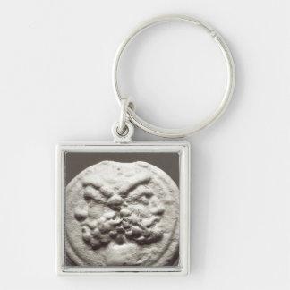 Cinco monedas que representan Jano, Júpiter Llavero Cuadrado Plateado