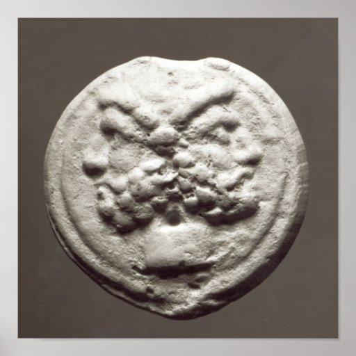 Cinco monedas que representan Jano, Júpiter Posters