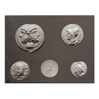 Cinco monedas tarjeta postal