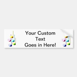 Cinco notas de la música en gráfico del músico de  pegatina para auto