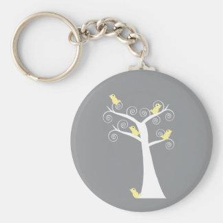 Cinco pájaros amarillos en un llavero del árbol