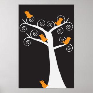 Cinco pájaros anaranjados en un poster del árbol